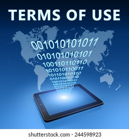 Terms of use illustration with tablet computer on blue background
