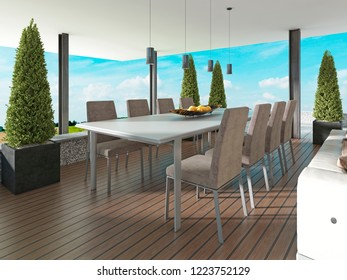Terrace with dining table in the style of Contemporary. 3D rendering