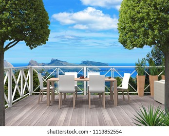 Terrace of a holiday home in the maountains with a view to the coast and the mediterranean sea - 3D rendering