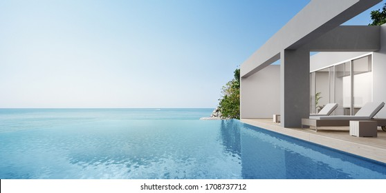 Terrace near living room and swimming pool in modern beach house or luxury villa. Wooden deck 3d rendering with sea view.