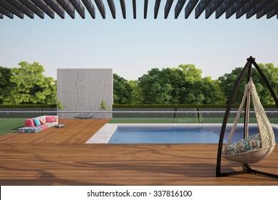 terrace near swiming pool with sofa