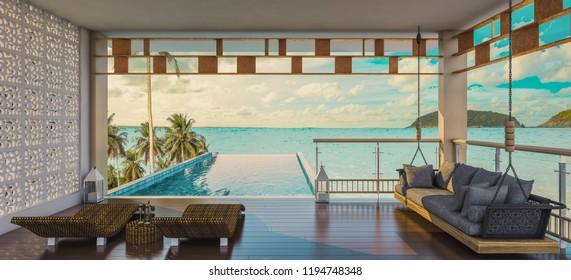 Terrace open doors overlooks to borderless swimming pool and sea view, 3d rendering