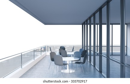 A terrace with tables and chairs in a modern panoramic building. 3D rendering. White copy space on background.