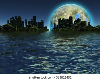 Terraformed moon as seen on future earth