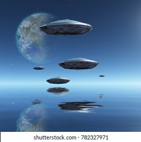 Terraformed Moon and Spacecrafts over water surface. 3D rendering