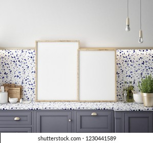 Terrazzo kitchen interior wall mock up on gray background, 3D rendering, 3D illustration