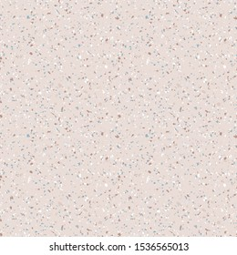 Terrazzo marble flooring seamless pattern. Raster texture of mosaic floor with natural stones, granite, marble, quartz, limestone, glass, concrete. Trendy beige background with colored particles