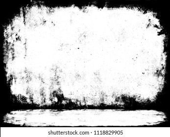 Terrible studio template 3d illustration. Grunge frame texture. Prison cell interior. Thriller decoration empty room background. Gothic pattern wall and floor.