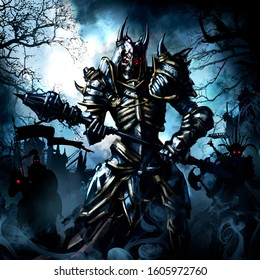 A terrible undead led by a skeleton in plate armor with a Mace in his hands, with red glowing eyes, and the same warriors behind him. Against the gray, gloomy sky and the ruins of the castle.