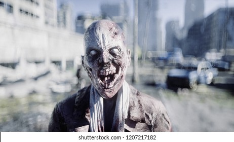 Terrible zombie in destroyed city. Zombie apocalypse concept. 3d rendering.