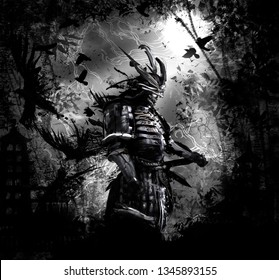 The terrifying ronin stands in the forest at night
