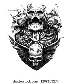 Terrifying shield with skulls and patterns