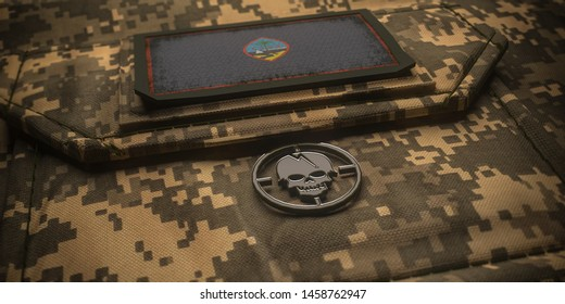 Territory of Guam army chevron on ammunition with national flag. 3D illustration
