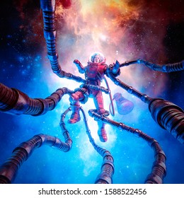 The terror beyond the stars / 3D illustration of retro pulp science fiction scene showing female astronaut captured by tentacled monster in outer space