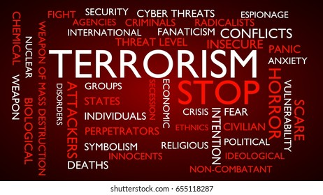 Terrorism, stop word tag cloud. 3D rendering, red variant.