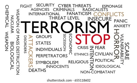 Terrorism, stop word tag cloud. 3D rendering, white variant.