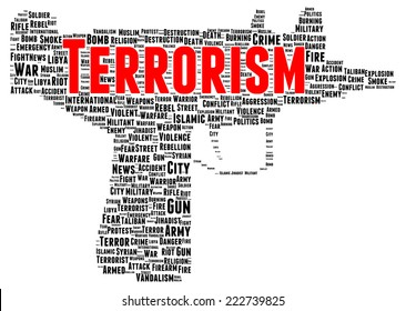 Terrorism word cloud shape concept