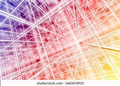 tesseract background abstract network cyber web multicolor 3D illustration