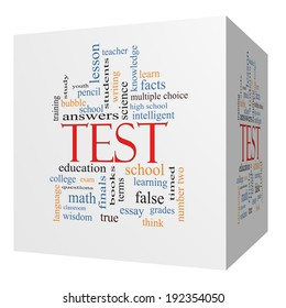 Test 3D cube Word Cloud Concept with great terms such as exam, school, learning and more.