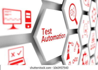 Test automation concept cell blurred background 3d illustration