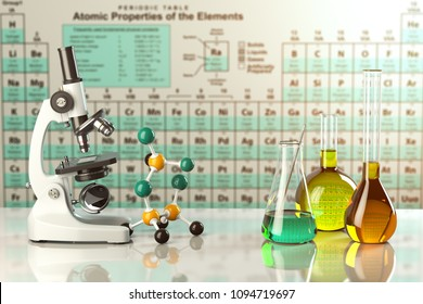 Test glass flasks and tubes with colored solutions on the periodic table of elements. Laboratory glassware. Science chemistry and research concept. 3d illustration