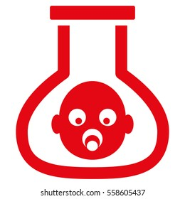 Test Tube Baby glyph icon. Flat red symbol. Pictogram is isolated on a white background. Designed for web and software interfaces.