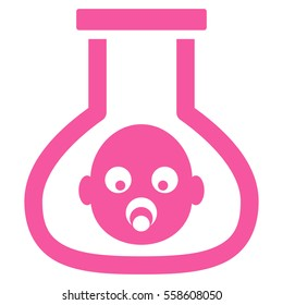 Test Tube Baby glyph icon. Flat pink symbol. Pictogram is isolated on a white background. Designed for web and software interfaces.