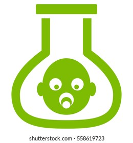 Test Tube Baby glyph icon. Flat eco green symbol. Pictogram is isolated on a white background. Designed for web and software interfaces.