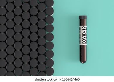 test tube of coronavirus on blue background 3d illustration