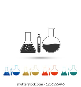 Test tube and flask - chemical laboratory test icon isolated on white background. Laboratory glassware sign. Set elements in colored icons. Flat design
