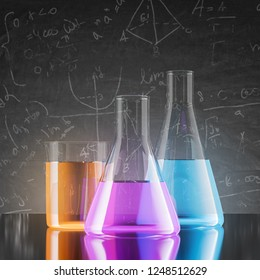 Test tubes with orange, purple and blue liquids standing on black table over blackboard background. 3d rendering