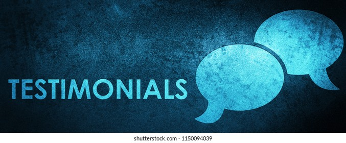 Testimonials (chat icon) isolated on special blue banner background abstract illustration