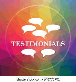 Testimonials icon. Testimonials website button on low poly background.