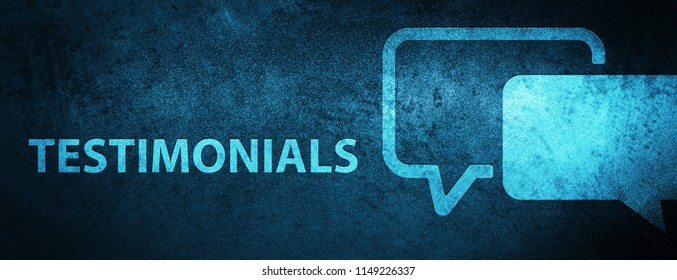 Testimonials isolated on special blue banner background abstract illustration