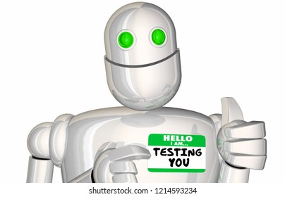 Testing You Robot Android Exam Quiz 3d Illustration