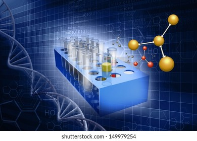 Test-tubes on abstract science   background