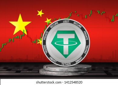 Tether China; Tether (USDT) coin on the background of the flag of China