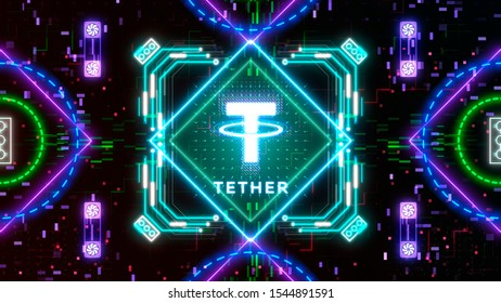Tether coin cryptocurrency. Digital sign icon. Internet money