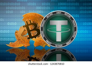 Tether coin stands in front of cracked coin bitcoin on binary code background; tether leader; bitcoin collapse