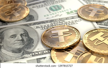 Tether coins on United States bank notes. 3D Rendering.