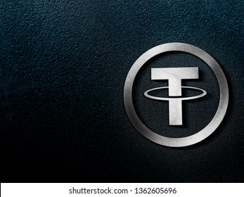 Tether coins (USDT) cryptocurrency and modern banking concept. 3D silver style rendering.