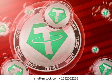 Tether crash; Tether (USDT) coins in a bubbles on the binary code background. Close-up. 3d illustration