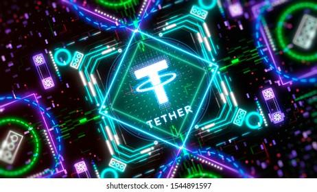 Tether cryptocurrency. Blockchain technology symbol illustration