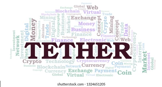 Tether cryptocurrency coin word cloud.