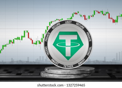 Tether; cryptocurrency coins - Tether (USDT) on the background of the chart. 3d illustration