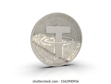 Tether. Cryptocurrency Golden coins. Cryptocurrency mining. 3D illustration.