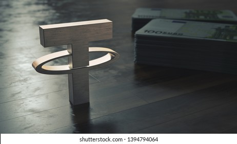 Tether cryptocurrency. Metallic symbol on the wooden floor. 3D illustration