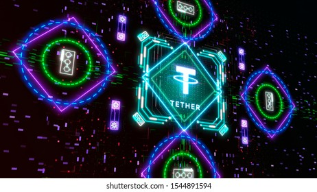 Tether digital cryptocurrency symbol. Technology of virtual money concept sign