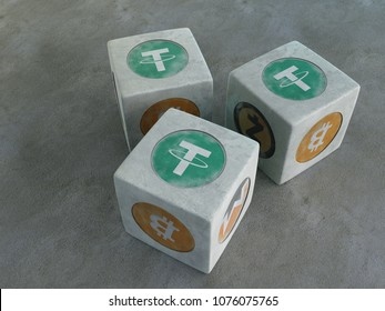 Tether. Game bones with the image of crypto currency. Playing dice for crypto currency. 3d rendering.