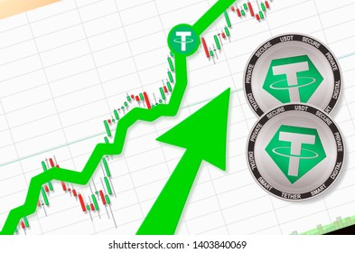 Tether going up; tether cryptocurrency price up; place for text (price)